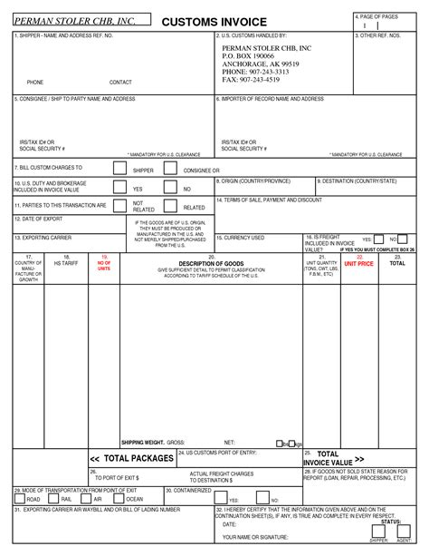 Blank Canada Customs Invoice Hardhost Info Customs Commercial Invoice Template