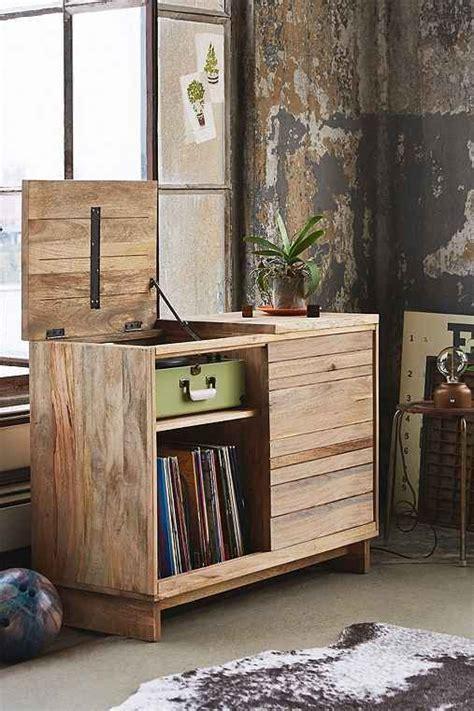 wooden media console furniture decor vinyl record storage