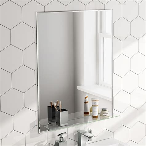 600x800mm rectangular bathroom mirror with glass storage shelf mc150 ebay