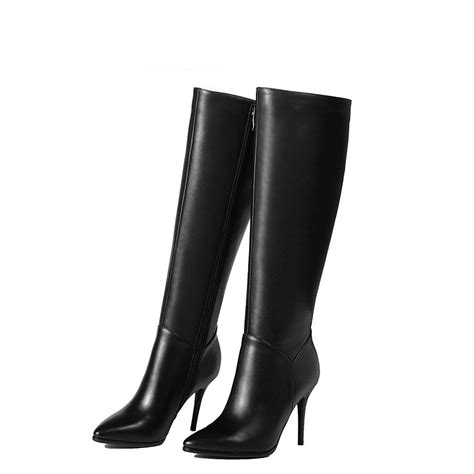 wide calf thigh high heel boots nine seven genuine leather womens stiletto heel pointed