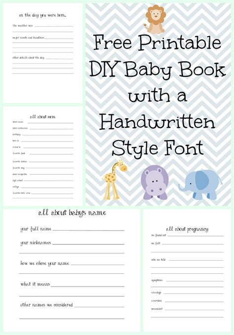 printable baby book template pages make a diy baby book with a handwritten style font with