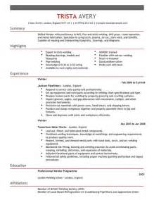 Welding Resume by Welder Cv Exle For Construction Livecareer