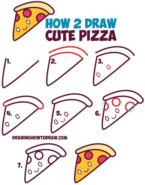 how to draw doodle how to draw kawaii pizza slice with on it easy