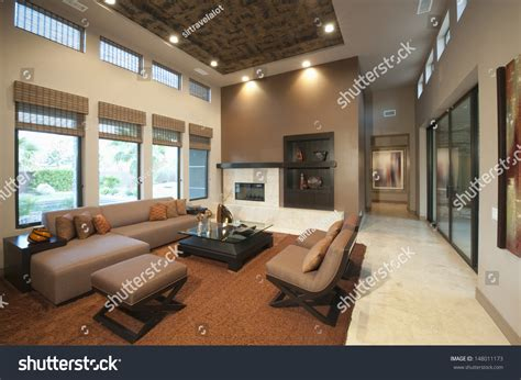 Living Room Doubles As Bedroom Spacious Living Room Height Ceiling Stock Photo