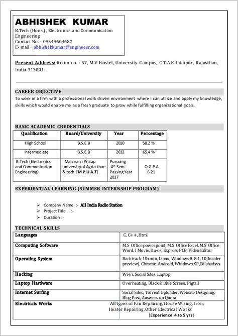 resume format in ms word in india free resume format in word resume resume