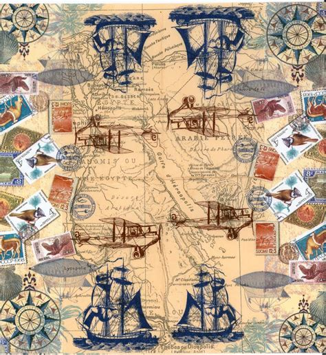 Map Decoupage - decoupage paper napkins of vintage travel world map