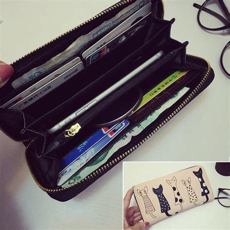 Dompet Panjang Cantik dompet panjang wanita motif kucing blue
