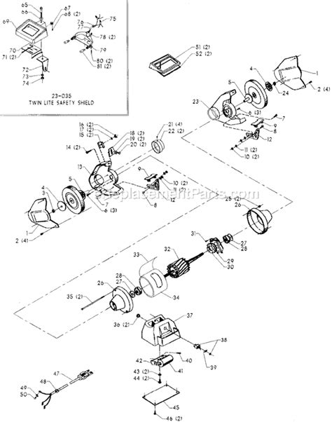 delta bench grinder parts delta 23 860 parts list and diagram type 1