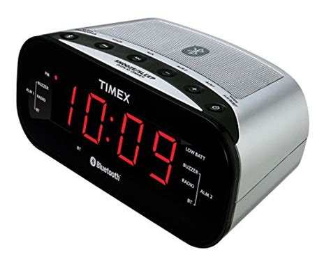timex bluetooth dual alarm radio alarm clock black t332sc