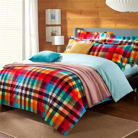 colorful comforter preppy style colorful green red checked plaid bedding set