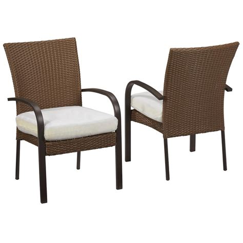 Patio Wicker Chairs Hton Bay Edington Cast Back Pair Of Patio Lounge Chairs 141 034 Lc2 The Home Depot