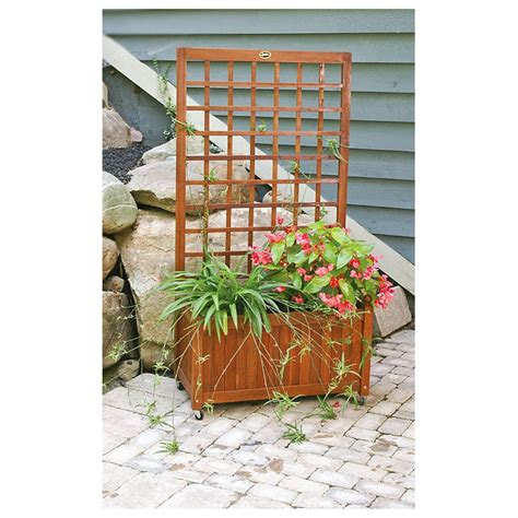 Wooden Planters With Trellis by Wooden Flower Box Garden Trellis Gardens Climbing