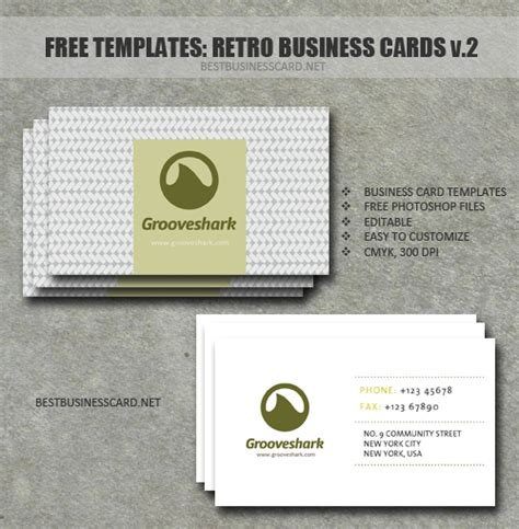 vintage business card template psd retro business card template in psd ver 2 by