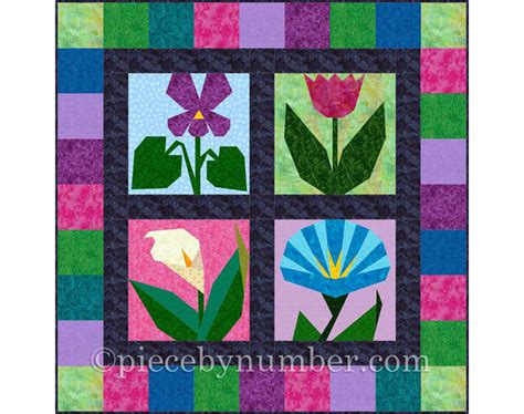 paper pieced flower pattern morning in may 4 paper pieced flower quilt block patterns