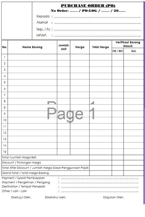 format order adalah contoh form po purchasing order kolektor prosedur