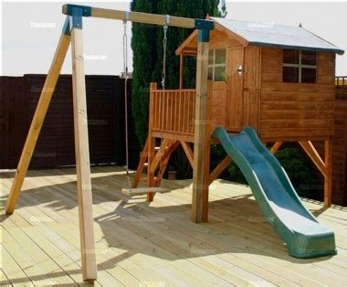 outdoor playhouse with slide and swing platform playhouse 215 with slide and swing