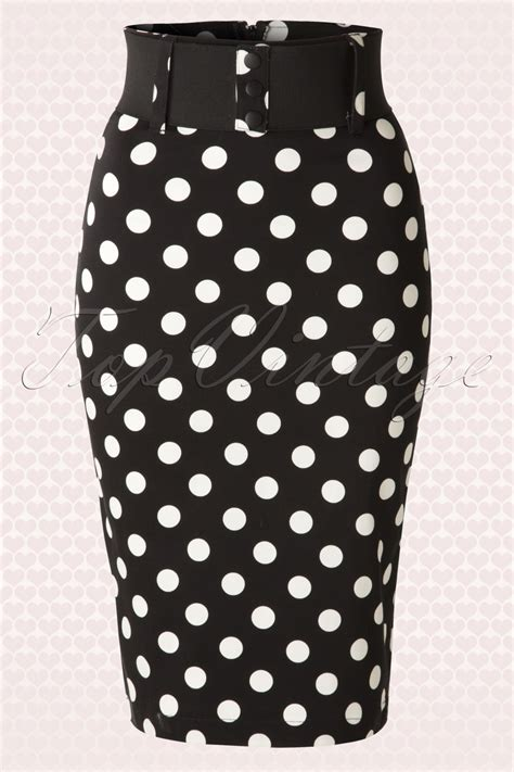 50s catch me if you can polkadot pencil skirt in black