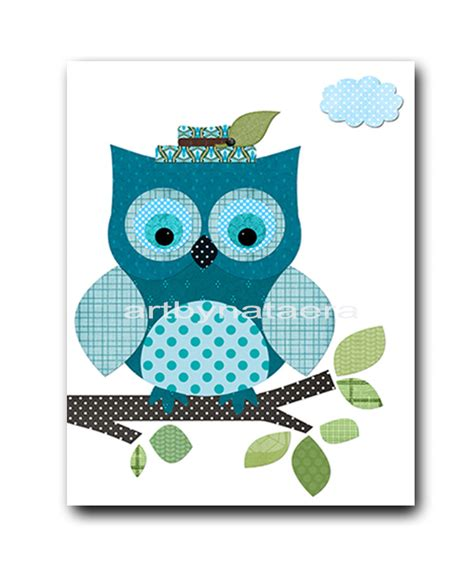 Owl Nursery Wall Decor Owl Decor Owl Nursery Baby Boy Nursery Print Childrens