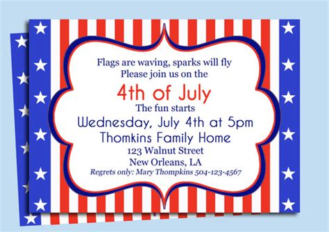 invitation fourth birthday card templates 4th of july birthday invitations dolanpedia