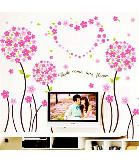 72 on stickerskart pink pandora flowers border design wall decor multicolour on snapdeal