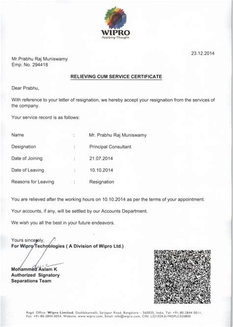 Offer Letter Wipro Wipro Relieving Letter