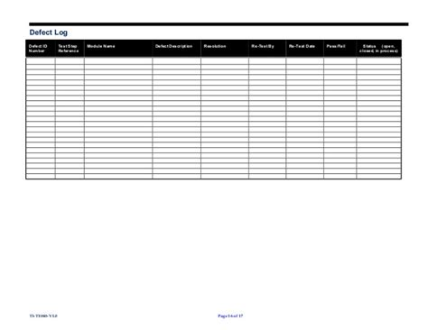 Defect Checklist Template by Te40 Template