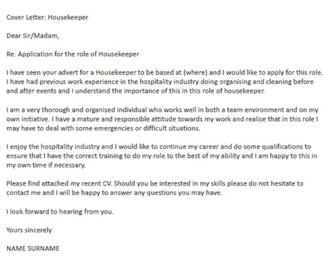 Housekeeper Cover Letter Example   icover.org.uk