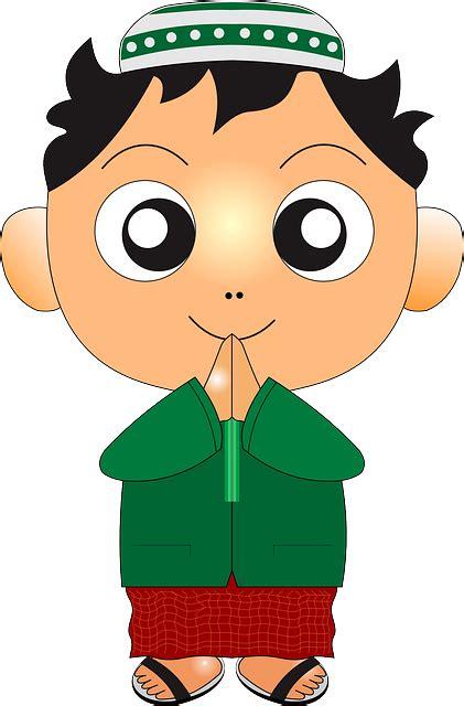 gambar vektor gratis anak muslim anak laki laki