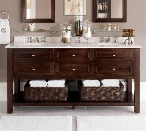 pottery barn style bathroom vanity classic double sink console espresso finish pottery