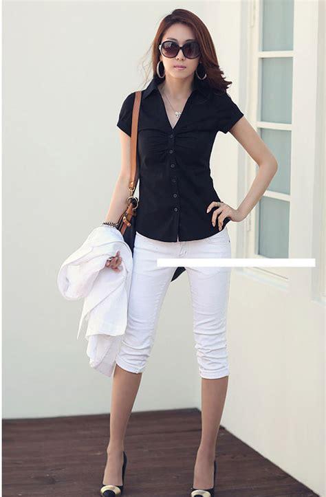 kemeja hitam wanita lengan pendek model terbaru jual murah import kerja