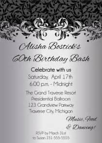 silver ornate birthday invitations printable digital birthday invitation file on