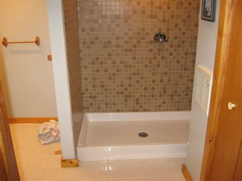 Shower Pans That Can Be Tiled by Big Construction Mosaic Tile Shower