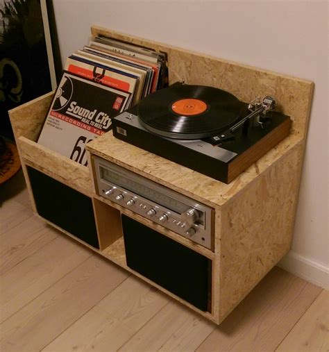 diy record player cabinet my osb record player storage furniture records