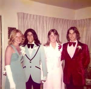 prom hair style of the 70 s prom you can tell by the tuxedos what decade it was