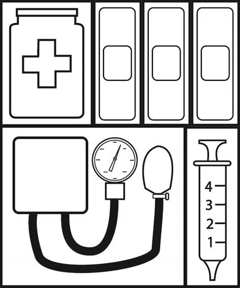 free coloring pages of doctor tools kit