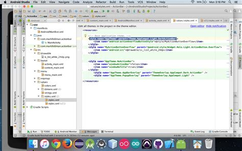 android themes xml vs styles xml action bar in android studio 1 5 upgrade