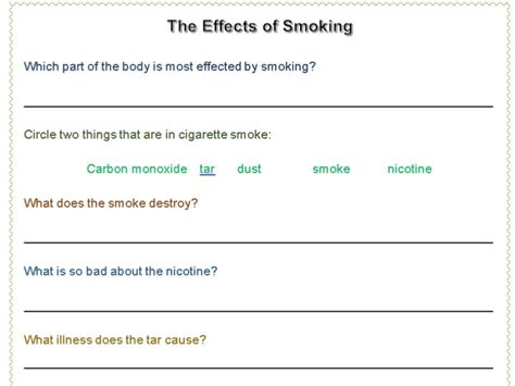 printable smoking quiz smoking worksheet by krayna teaching resources tes