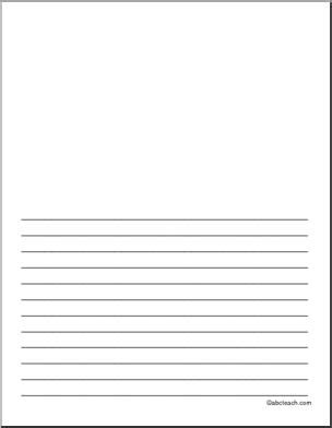 printable paper half lined writing papers writing and landscape illustration on