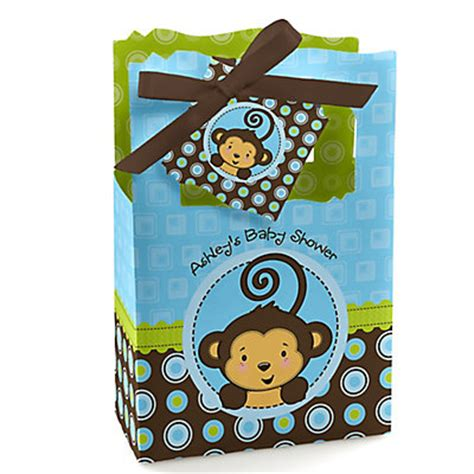 blue monkey boy personalized baby shower favor boxes
