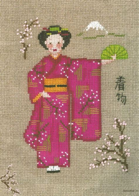 kimono needlepoint pattern japanse kimono rose firma le bonheur des dames