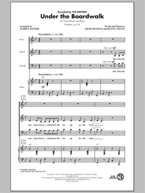 printable lyrics to under the boardwalk under the boardwalk sheet music at stanton s sheet music