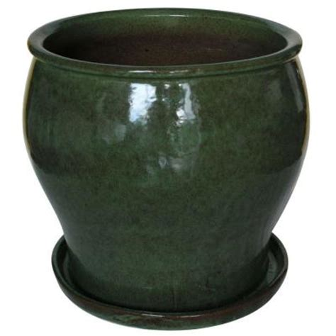 Ceramic Planters Home Depot 16 in ceramic solid js green studio planter db10021 16h