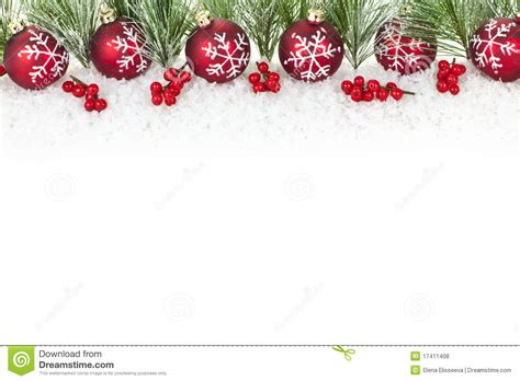 christmas border with red ornaments royalty free stock