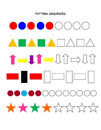 pattern games stage 1 shape patterns teaching ideas