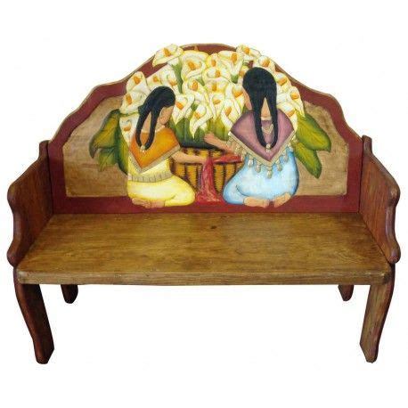 mexican bench women hand painted mexican bench