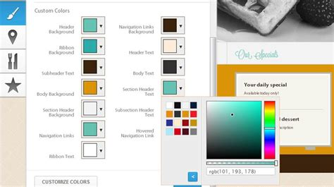 color scheme selector customized themes colors and fonts for your restaurant website appetas
