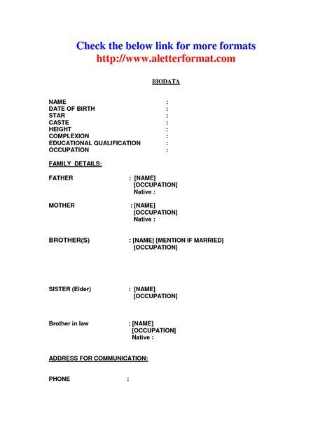 Sle Matrimonial Biodata Resume Writing Biodata