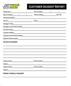customer incident report form template 47 incident report sles