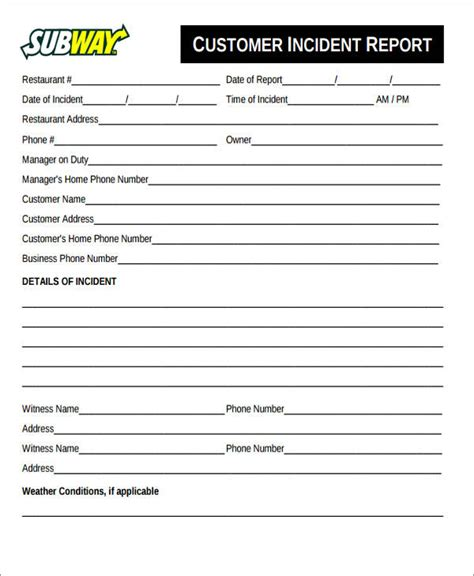 customer incident report form template customer report template 28 images customer incident