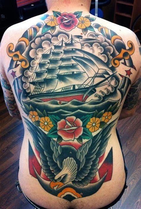 tattoo back traditional massive nautical themed back piece traditional style